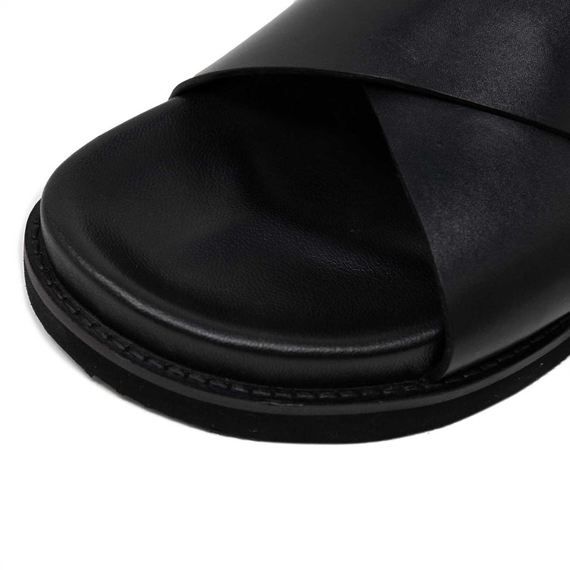 Black Leather Sandal with Contoured Footbed