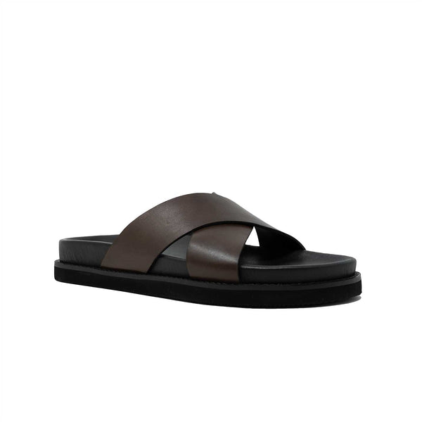 WALK London Mens Tommy Sandal Brown Leather