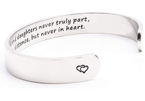Mothers and daughters never truly part, maybe in distance, but never in heart bracelet