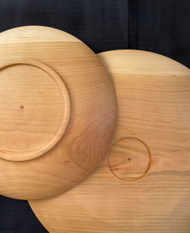 Hand curved wooden plate Cherry Tree