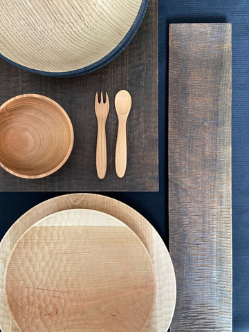 Hand curved wooden plate and Iron dyed plate and bowl