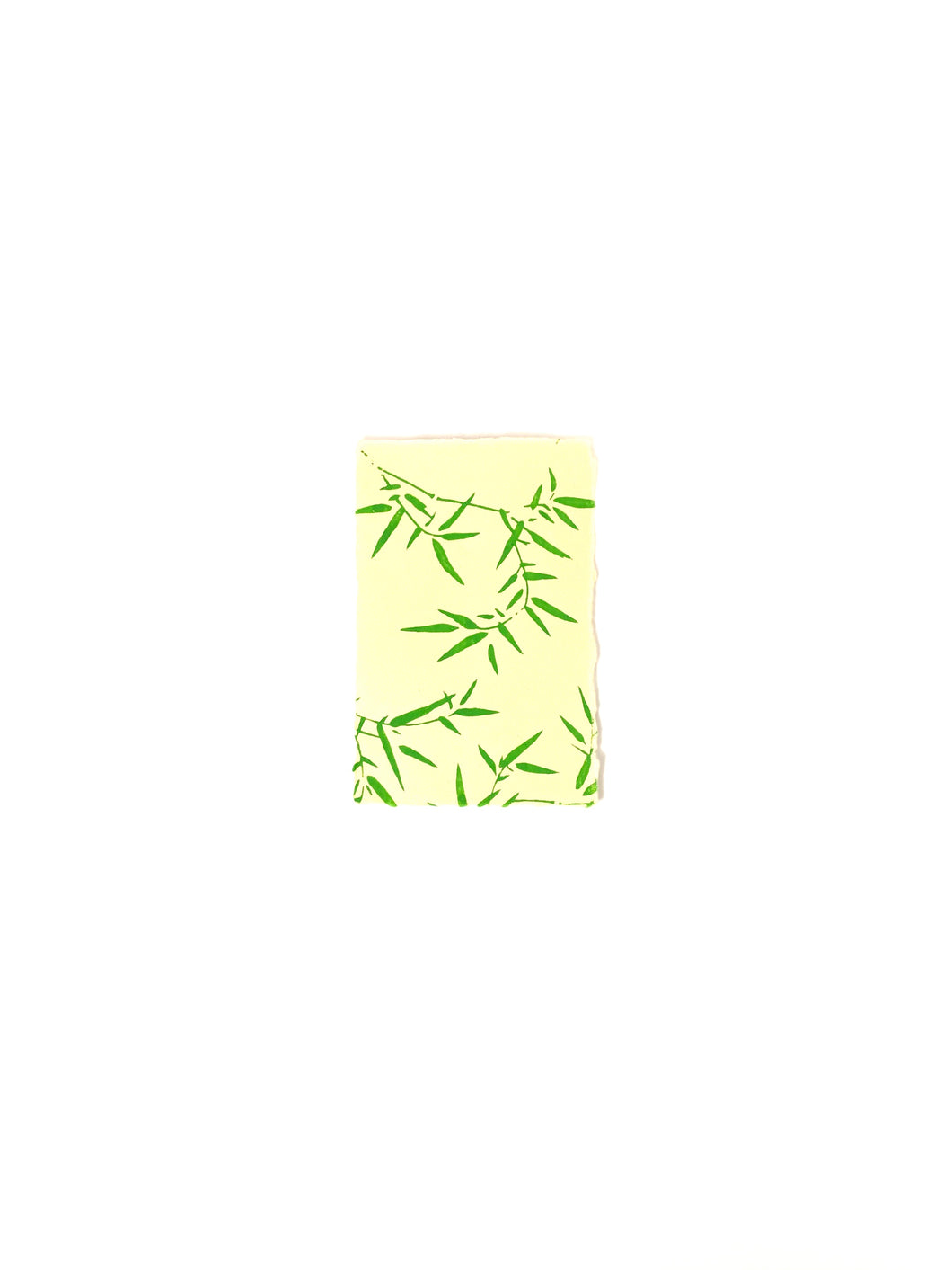 Japanese Washi Hand Printed Postcard Green Bamboo Leaf