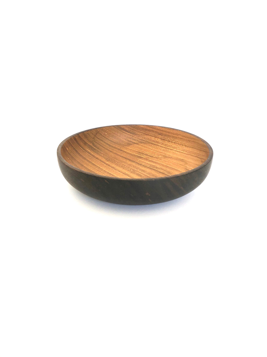 Japanese Handcrafted Wooden Iron Dyed Dual Coloured Small Bowl Cherry -  桜外側鉄染め小鉢 15cm
