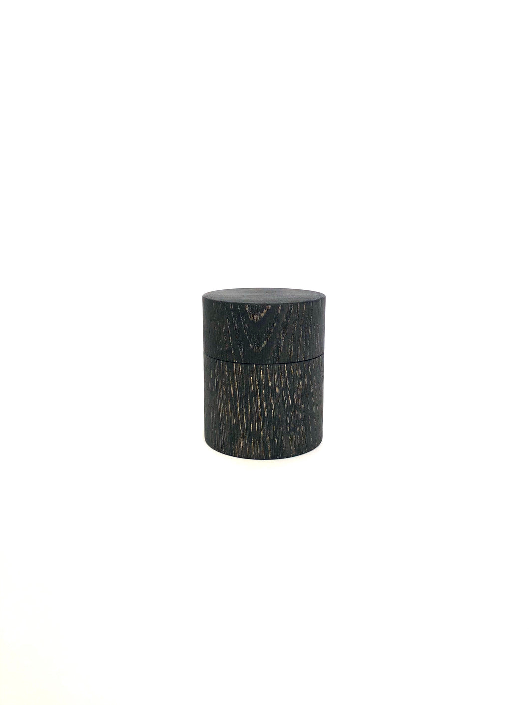 Japanese Handcrafted Wooden Mini Tea Caddy Iron Dyed Chestnut- 栗のミニ茶筒鉄染め 6.5cm