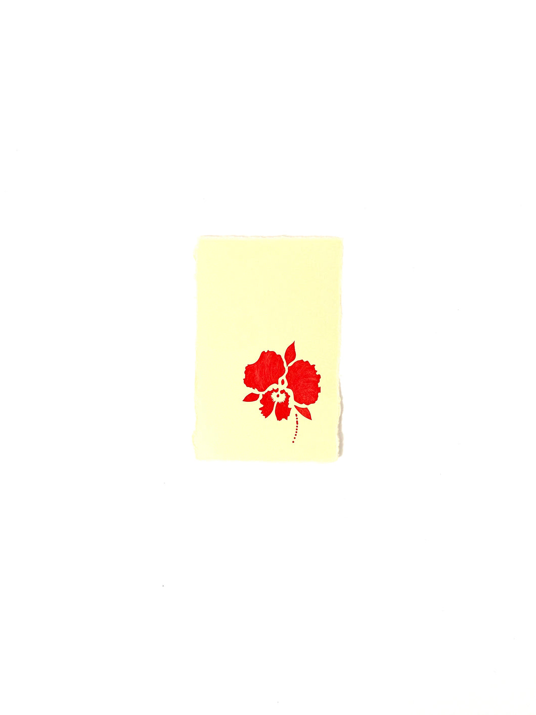 Japanese Washi Hand Printed Postcard Red Orchid