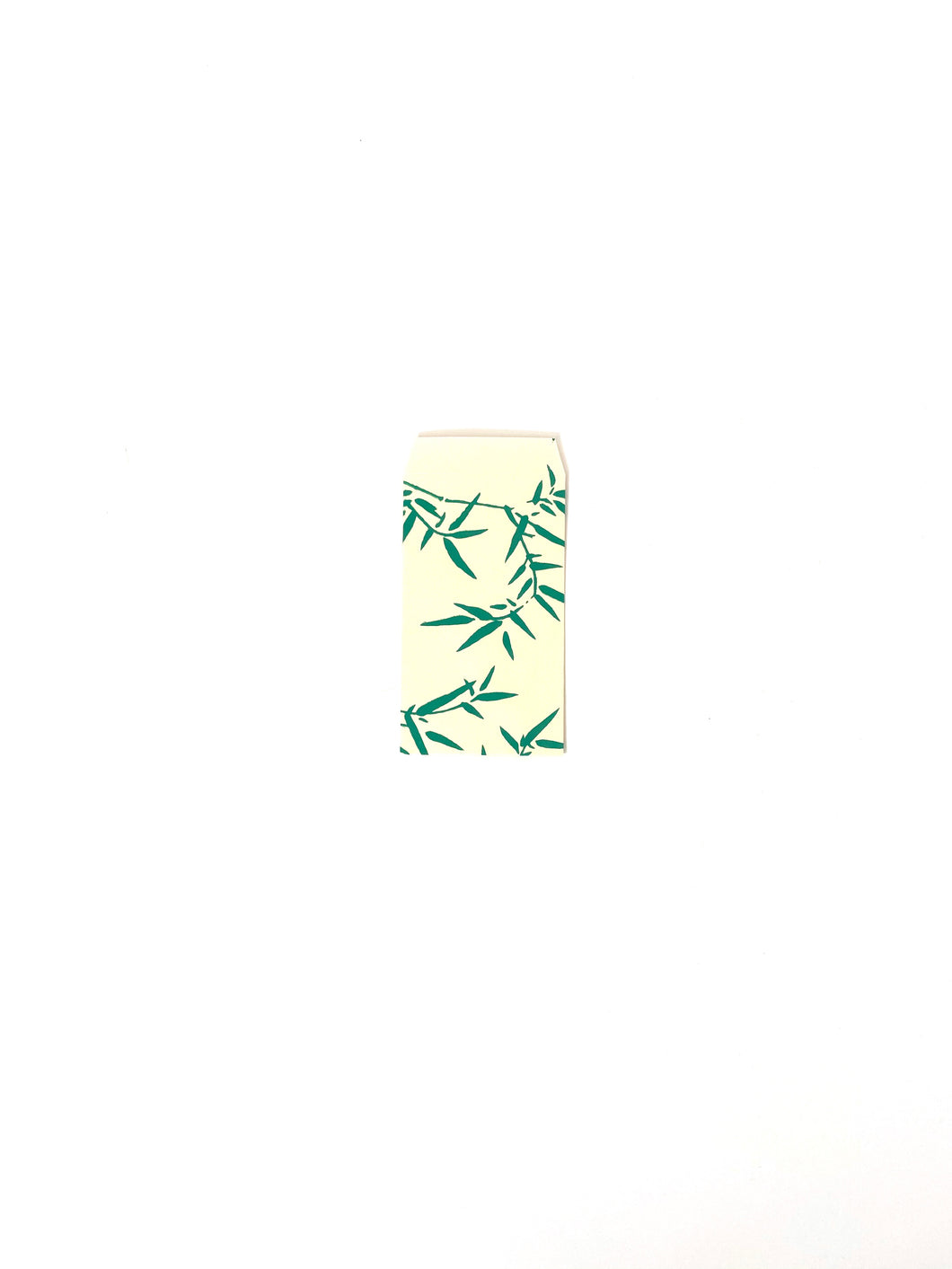 Japanese Washi Hand Printed Mini Envelopes Green Bamboo Leaf