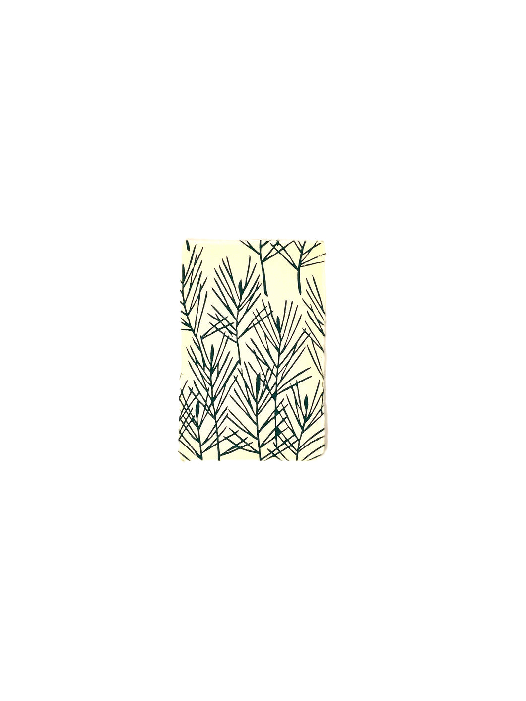 Japanese Washi Hand Printed Postcard Dark Green Pine - 和紙絵ハガキ 松/濃い草