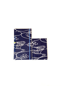 Japanese Washi Hand Printed Notebook A6 Water - 和綴じノートA6 水