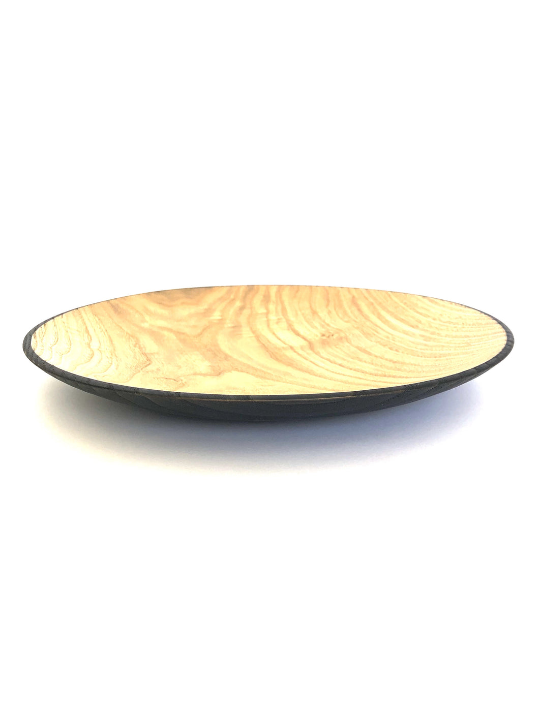 Japanese Handcrafted Wooden Iron Dyed Dual Coloured Plate Chestnut -  栗の外側鉄染め大皿 28cm