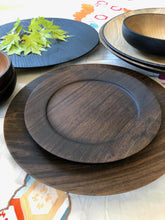Load image into Gallery viewer, Japanese Handcrafted Wooden Iron Dyed Rim Plate Cherry -  染めリムプレート 18cm