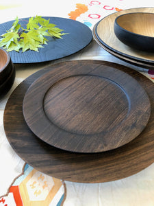 Japanese Handcrafted Wooden Iron Dyed Rim Plate Cherry -  染めリムプレート 18cm