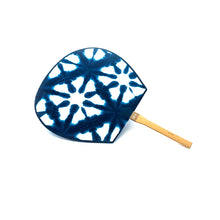 Load image into Gallery viewer, Indigo Dyed Japanese Fan - 藍染め団扇
