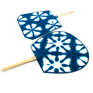 Indigo Dyed Japanese Fan - 藍染め団扇