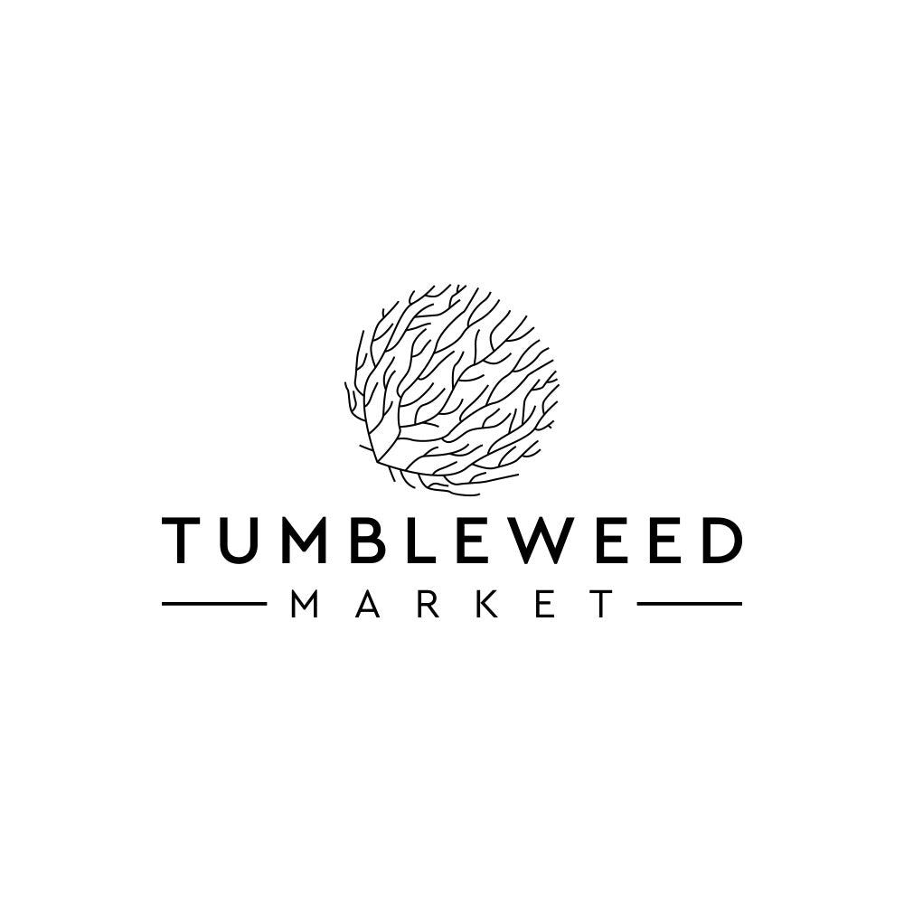 "Line drawing of a tumbleweed over the words ""tumbleweed market"""