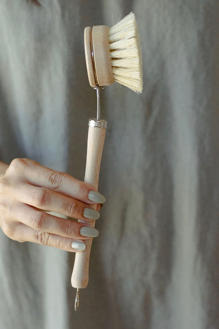 Dish Brush - White Teakwood and Agave With Replaceable Head