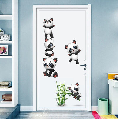 Sticker Bambou Panda Cartoon