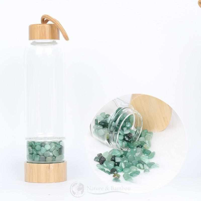 Bouteille en Bambou | Collection QUARTZ-Aventurine Verte-Nature & Bambou