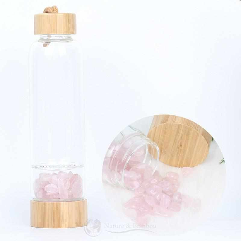 Bouteille en Bambou | Collection QUARTZ-Quartz Rose-Nature & Bambou