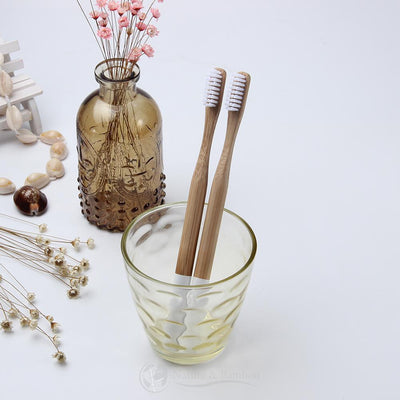 Brosse à Dents en Bambou | Poils MEDIUM-x1 Blanc-Nature & Bambou