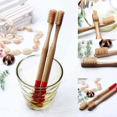 Brosse à Dents en Bambou | Poils MEDIUM-x1 Rouge-Nature & Bambou