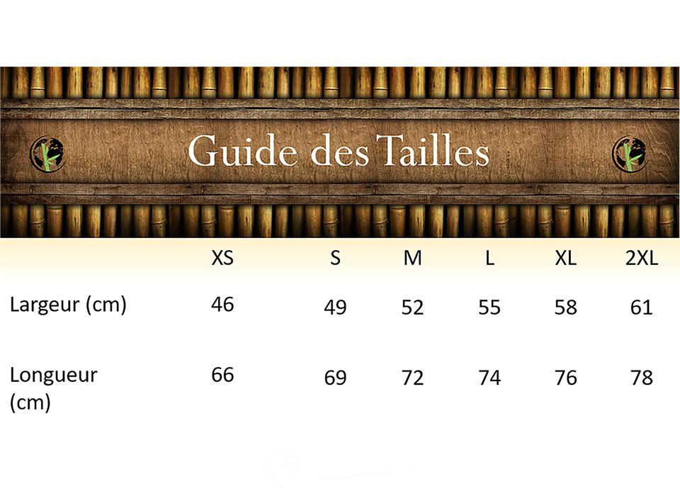 T-Shirt Bio-Guide Des Tailles-Nature & Bambou