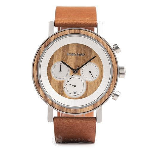 Montre Chronographe en Bois | Patet Silvam-Marron-Nature & Bambou