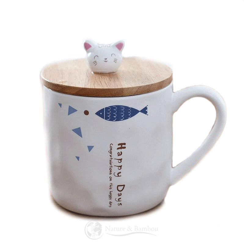 Mug en Bambou <br> Cat & Fish