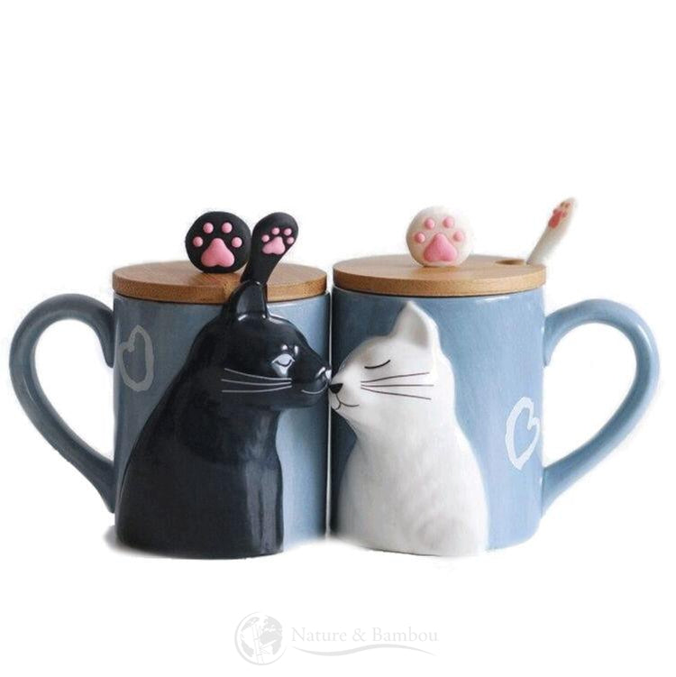 Mug en Bambou <br> Couple Cat