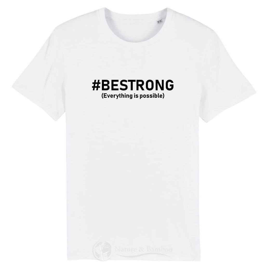 T-Shirt Bio Be Strong-Blanc-XS-Nature & Bambou