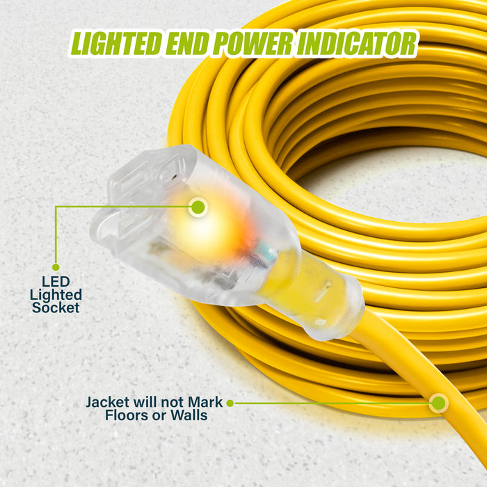 GearIT 14/3 Outdoor Extension Cord 100 Feet - SJTW - Weather Resistant - 14 Gauge 3 Prong, Yellow - GearIT