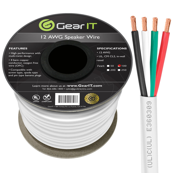 GearIT 12 AWG In Wall Speaker Wire 4-Conductor Bi-Wire Cables - CL2 Rated - Oxygen Free Copper (OFC), White - GearIT