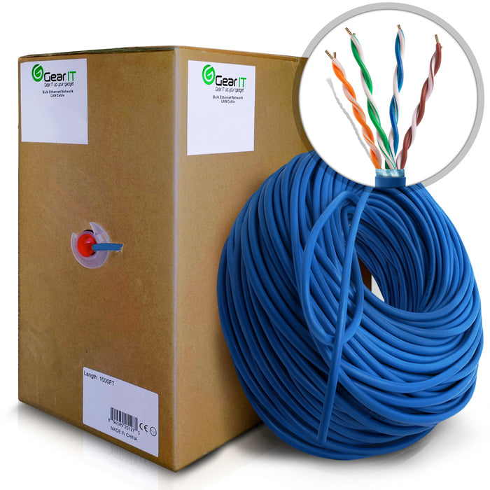 GearIT 1000 Feet Bulk, Cat5e Ethernet Cable, 350Mhz, 24AWG, Solid Bare Copper Wire, (CM) In-Wall Rated, UTP, Pull Box - www.gearit.com