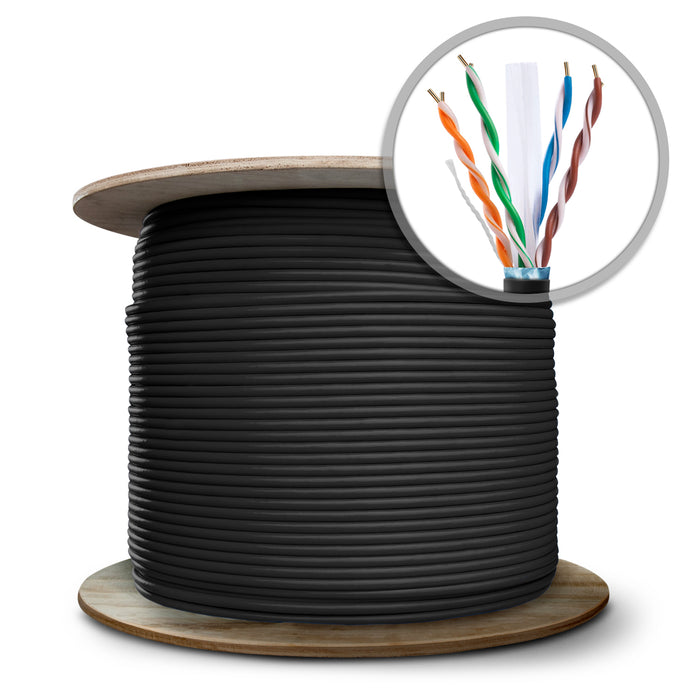 GearIT 1000 Feet Bulk, Cat6 Ethernet Cable, 600MHz, 24AWG, (Solid) Bare Copper Wire, (CMR) Riser Rated, (Shielded), Wooden Spool