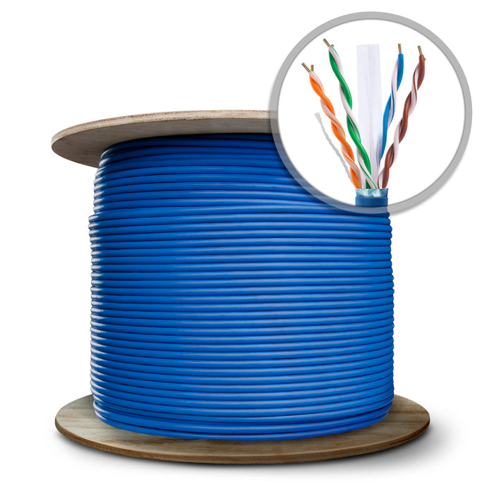 GearIT 1000 Feet Bulk, Cat6 Ethernet Cable, 600MHz, 24AWG, (Solid) Bare Copper Wire, (CMR) Riser Rated, (Shielded), Wooden Spool - www.gearit.com