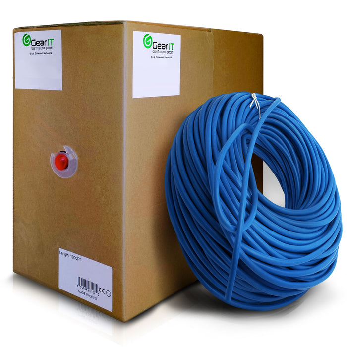 GearIT 1000 Feet Bulk, Cat6 Ethernet Cable, 550Mhz, 23AWG, Full Copper Wire, (Solid), CM In-Wall Rated, UTP, Pull Box