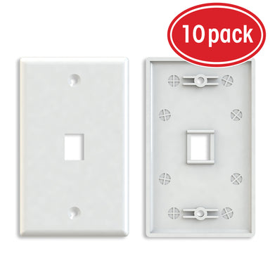 GearIT (10-Pack) Keyston Wall Plate, Cat6, Cat5e, Ethernet Wall Plate, 1 to 4-Port