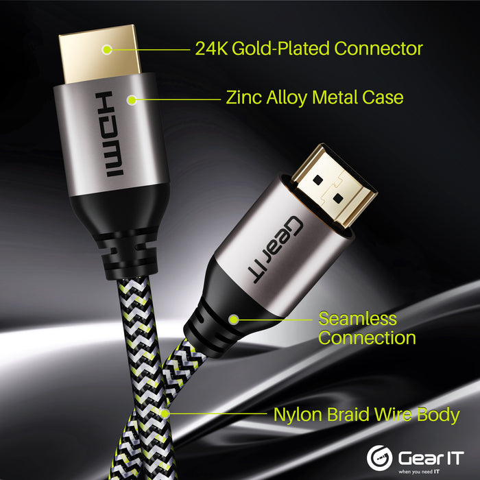 GearIT 4K HDMI Cable - HDMI 2.0b - 4K@60hz - Nylon Braided Cord - GearIT