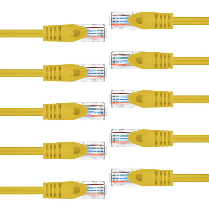 GearIT Cat6 Ethernet Patch Cable - Premium Flexible Soft Tab, Snagless RJ45, Stranded, 550Mhz, UTP, Pure Bare Copper Wire, 24AWG - Yellow - www.gearit.com