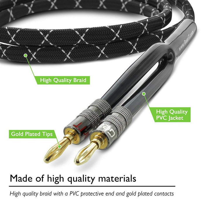 GearIT 14-Gauge Premium Heavy Duty Braided Speaker Wire, Dual Gold Plated Banana Plug Tips, OFC (Oxygen Free Copper) Cable, 14AWG