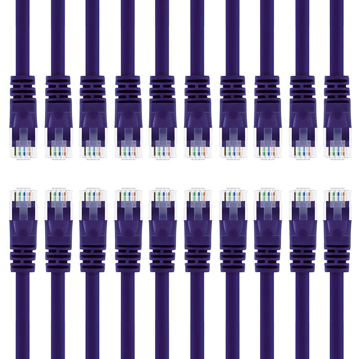 GearIT Cat6 Ethernet Patch Cable - Snagless RJ45, Stranded, 550Mhz, UTP, Pure Bare Copper Wire, 24AWG  - Purple - www.gearit.com