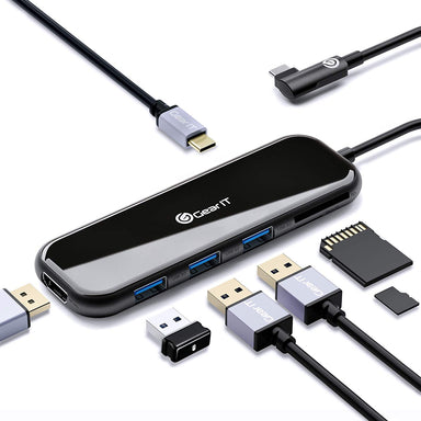 GearIT 6-in-1 USB-C Hub, Type C, HDMI Adapter, 100W USB-C PD Power Delivery, SD/Micro SD Card Reader, 4K HDMI, x3 USB 3.0, Compatible for MacBook Pro, iPad Pro, XPS, Samsung DeX - www.gearit.com