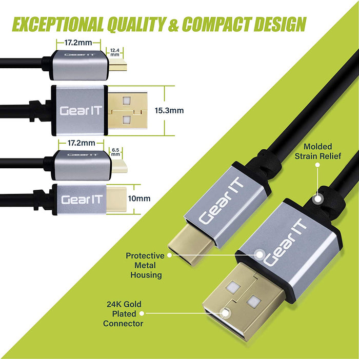 GearIT USB-C Cable, USB Type-C to USB-A 2.0 Male, Fast Charging USB Type-C to Type-A - Compatible iPad Pro 2018, MacBook, Samsung S10 S10+ S9 Note 9, Nintendo Switch and More - www.gearit.com
