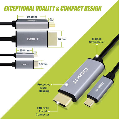 GearIT USB-C to HDMI Cable, [Thunderbolt 3 Port Compatible] USB Type-C, 4K@60Hz - Compatible with MacBook Pro 2018/2017, MacBook Air, iPad Pro 2018 - www.gearit.com