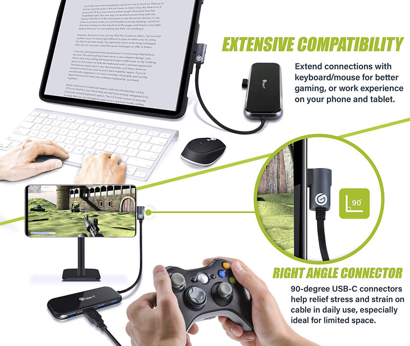 GearIT 5-in-1 USB-C Hub, Type C, HDMI Adapter, 100W USB-C PD Power Delivery, x4 USB 3.0 for MacBook Pro, iPad Pro, Surface Pro, XPS, Notebook PC, USB Flash Drives, Mobile HDD - www.gearit.com