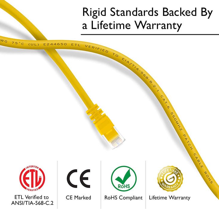 GearIT Cat6 Ethernet Patch Cable - Snagless RJ45, Stranded, 550Mhz, UTP, Pure Bare Copper Wire, 24AWG  - Yellow - GearIT