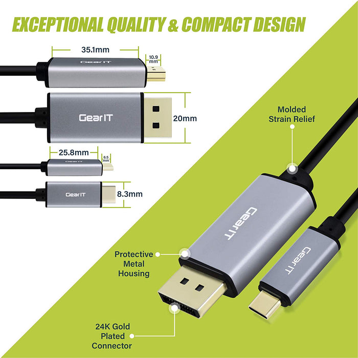 GearIT USB-C to DisplayPort Cable, [Thunderbolt 3 Port Compatible] USB Type-C, 4K@60Hz - Compatible for MacBook Pro 2018/2017, MacBook Air, iPad Pro - www.gearit.com