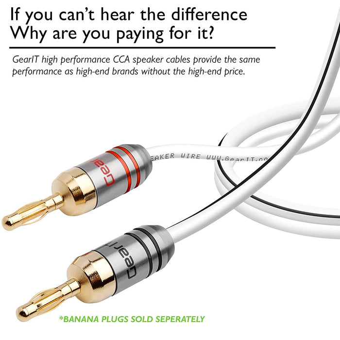 GearIT 12-Gauge Speaker Wire, CCA (Copper Clad Aluminum), Home Theatre, Car Speakers & More - 12 Awg - Pro Series