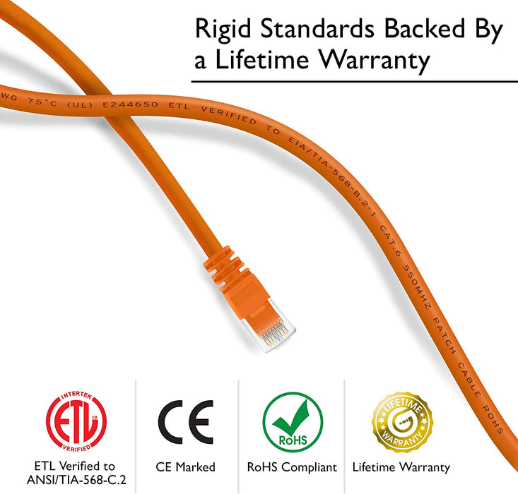 GearIT Cat6 Ethernet Patch Cable - Snagless RJ45, Stranded, 550Mhz, UTP, Pure Bare Copper Wire, 24AWG  - Orange