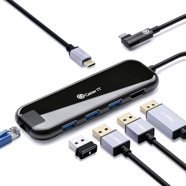 GearIT 6-in-1 USB-C Hub, Type C, HDMI Adapter, 100W USB-C PD Power Delivery, RJ45 Ethernet, 4K HDMI, x3 USB 3.0, Compatible for MacBook Pro, iPad Pro, XPS, Samsung DeX - www.gearit.com