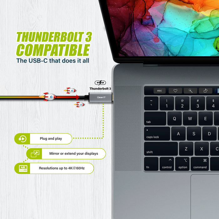GearIT USB-C to HDMI Cable, [Thunderbolt 3 Port Compatible] USB Type-C, 4K@60Hz - Compatible with MacBook Pro 2018/2017, MacBook Air, iPad Pro 2018, Surface Book 2, Samsung S10 and More - www.gearit.com